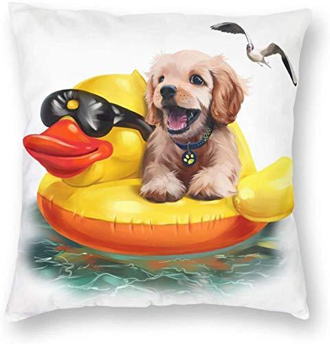 Cucciolo di disegno ad acquerello galleggia su un'anatra gonfiabile Cuscino quadrato in poliestere Fodera per cuscino 18x18 pollici Federe...