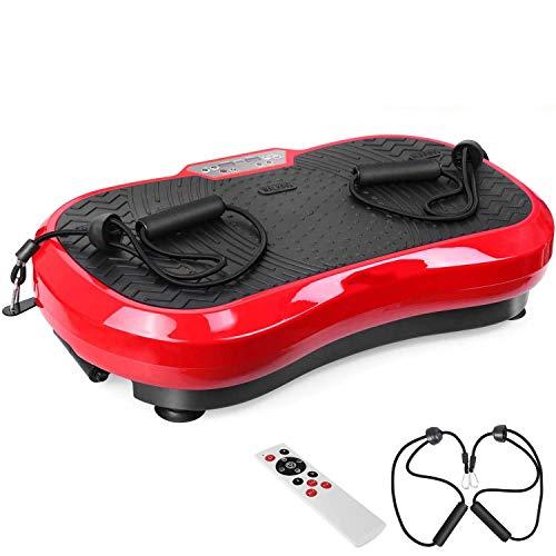 XJYA Fitness Ultraflache Vibrationsplatte mit Leisem Motor | LCD Display | 120 Level | Inkl. Fernbedienung, Trainingsbänder,belastbar bis 180 kg
