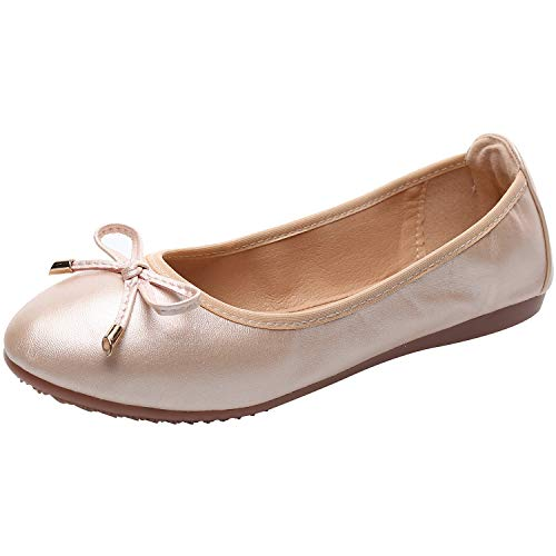 rismart Damen Tanzen Schlüpfen Wohnung Bowknot Elegant Weich Ballerinas Schuhe SN02829(Pink,EU40.5)