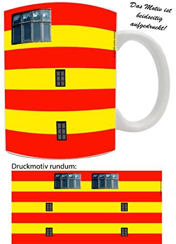WB wohn trends Tasse mit Rundum Motiv: Leuchtturm Pilsum ~ Farbe: weiß ~ Kaffee-Becher mit Motiv