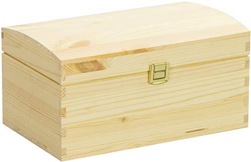 LAUBLUST Große Holztruhe gewölbter Deckel - 26x16x13cm, Natur, FSC® | Allzweck-Kiste aus Holz - Aufbewahrungskiste | Geschenk-Verpackung | Deko-Kasten zum Basteln | Spielzeug-Truhe | Erinnerungsbox