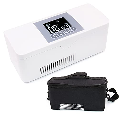 Nevera Portátil de Insulina, Caja de Refrigerador de Insulina Semiconductor Refrigerador de Coche para Automóvil Viaje,Hogar con Pantalla LCD Temperatura Constante(2-8℃)