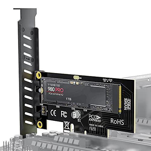 AMPCOM NVME M.2 PCIe 拡張カード 変換 アダプター PCI-Express 4.0 X4対応 増設インターフェースボード M.2 スロット インターフェースボード M.2 SSD 変換 アダプタ デスクトップ PC用 PCIEボード 2280 2260 2242 2230すべて対応