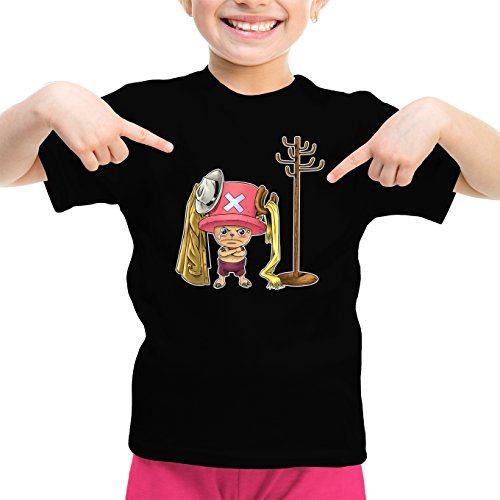 T-Shirt Enfant Fille Noir One Piece parodique Tony Tony Chopper : Un Pirate complètement cintré. : (Parodie One Piece)