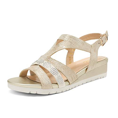 DREAM PAIRS Women's Light Gold Sparkly Summer Ankle Strap Buckle Low Wedge Sandals Size 8.5 M US Karely-3
