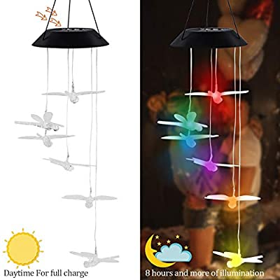 """MorTime LED Solar Dragonfly Wind Chime, 25"""" Mobile Hanging Wind Chime for Home Garden Decoration, Automatic Light Changing Color (Dragonfly)"""