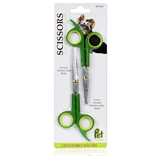 PET MAGASIN Grooming Scissors Kits - (2 Pairs - 1 for Body & 1 for Face + Ear + Nose + Paw) - Sharp & Strong Stainless Steel Blade Dog Grooming Scissors with Round Tip Top for Dogs & Cats