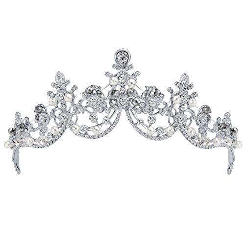 Lurrose - Tiara para novia, aleación de brillantes, corona con perlas, joya...