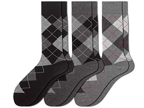u&i Men's Combed Cotton Argyle Dress Socks 3 Pack - Multicolored - X-Large