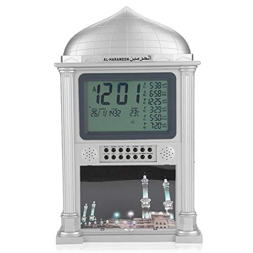 Azan Wecker, islamisches Gebet Harameen Digital Erinnerungswecker Wanduhr, dekorative Uhr, Kalender-Zeitanzeige, für Zuhause/Büro/Moschee.(Grau/Gold)(Grau)