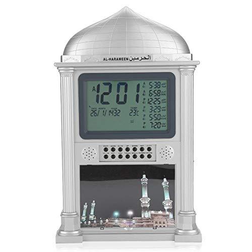 Premium Islamic Azan Alarm Clock,Plastic Automatic Muslim Azan Prayer Digital Calendar Time Display Alarm Wall Clock(Gray)