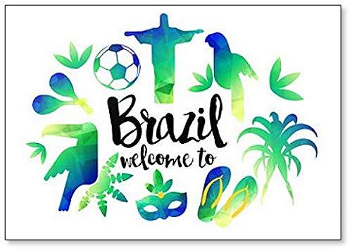 Bienvenido a Brasil. Imán para nevera con ilustración artística