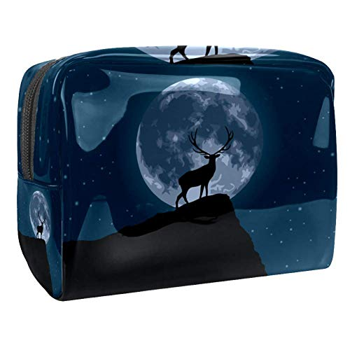 Maquillage Cosmetic Case Multifunction Travel Toiletry Storage Bag Organizer for Women - Reindeer At The Moon