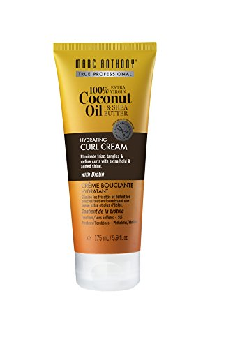 Marc Anthony Coconut Oil & Shea Butter Curl Defining Cream – Anti Frizz Biotin Curly Hair Detangling Cream for Enhancing Curls – Color Safe & Sulfate Free Styling Product For Dry Damaged Curly Hair