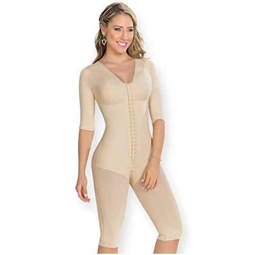 M&D 0161 Fajas Colombianas Levanta Cola Post Op BBL Postsurgery Compression Garments After Liposuction Full Body Shaper Long Sleeve for Women Beige M