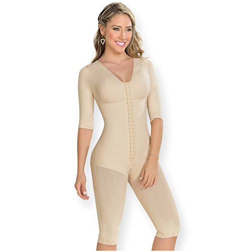 M&D 0161 Fajas Colombianas Levanta Cola Post Op BBL Postsurgery Compression Garments After Liposuction Full Body Shaper Long Sleeve for Women Beige L