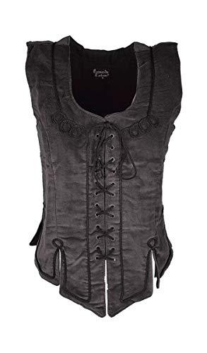 Dark Dreams Gothic Mittelalter LARP Mieder Keira, Farbe:schwarz, Größe:XL