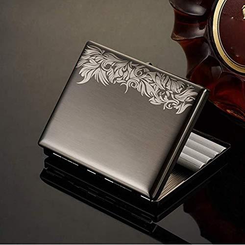 ALHJ Portasigarette in Acciaio Inossidabile Metallo,Elegante Disegno A Viticcio,Elegante Porta Sigarette Metallo