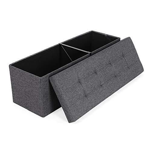 SONGMICS Folding Storage Ottoman Bench Storage Chest Foot Rest Stool with Metal Support
