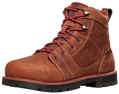 """KEEN Utility Women's Seattle 6"""" Alloy Toe Waterproof Work Boots, Gingerbread/Black, 7"""