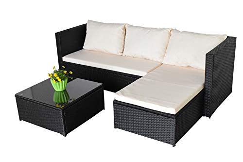 Jet-line Garden Lounge Garden Sofa Self-Assembly Bergen III Black - Beige Garden Furniture Lounge Garden Equipment for Garden, Balcony, Patio, Conservatory