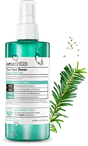 ESSENHERB TEA TREE TONER, Providing intensive nutrition and moisture to dry skin, Blemish Skin care system, Calm skin quickly and it helps to prevent excessive sebum. (200ML)