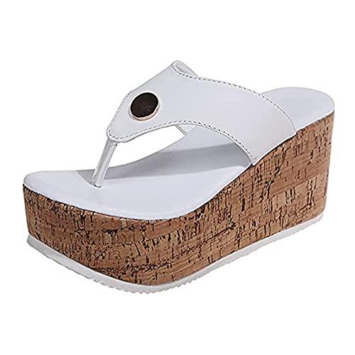 WellingA Chanclas Cordones para Mujer Sandalias CuñA Plataforma Informal Sandalias Playa De Verano, Pantuflas para Mujer Zapatos De Plataforma CuñA Correa Cruzada,Blanco,35
