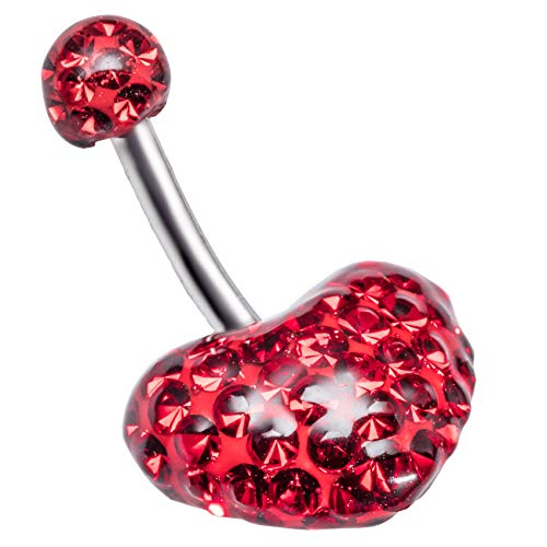 Navelpiercing Swarovski element epoxy 12mm rood hart 5mm rode bal