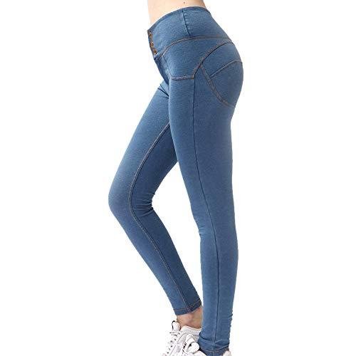 ZYYM Damen Treggings mit Jeansoptik Hohe Taille Leggings Jeans Look Skinny Hose Jeanshose Stretch Yogahose Slim Fit Streetwear Leggins Gemustert Tights Leggings Damen Sporthose Trainingshose