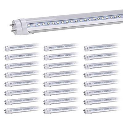 HouLight 25-Pack, 18W 4-foot T8 LED Light Tube, 6000K, White, Double End Power