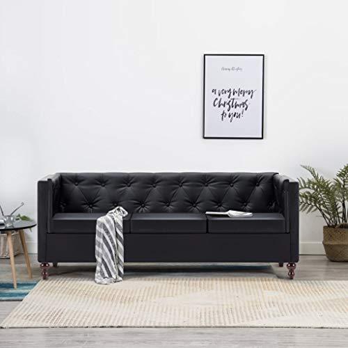 Tidyard Chesterfield Sofa 3 Sitzer Lounge Ledersofa Couch Sofagarnitur, Holzrahmen, Schwarz, 176 x 68 x 70 cm