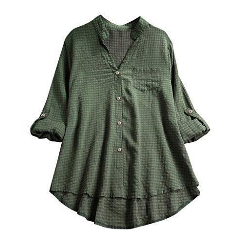 Andouy Damen Hemd Top Kariertes Langarm Leinen Plus Size Gr.38-46 Tunika Knopf Lose Bluse Übergroß(S(38),Grün)