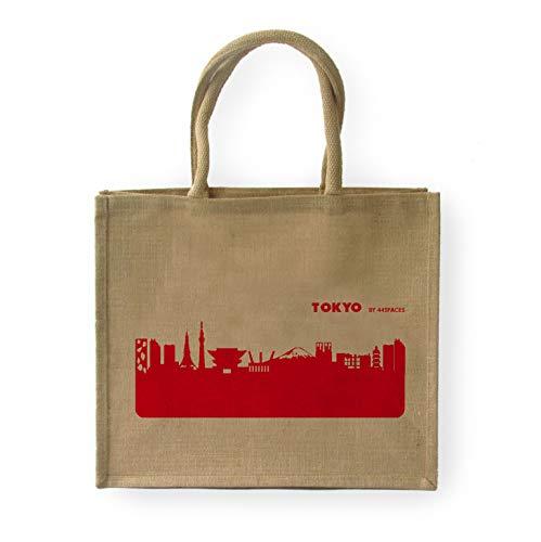 44spaces Große geräumige Einkaufstasche Tokyo Skyline - Jute Natur/Rot - Stylische Picknick-Tasche Tragetasche zum Einkaufen - Multifunktional Robust Wiederverwendbar Schwere Lasten