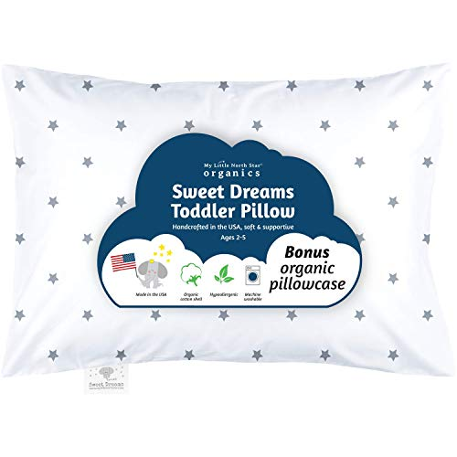 Organic Toddler Pillow & Pillowcase, Stars, Pillow Made in USA, 13X18, Best First Pillow, Hypoallergenic, Safe for Sensitive Skin & Allergies, Machine Washable. Ideal for Travel & Daycare
