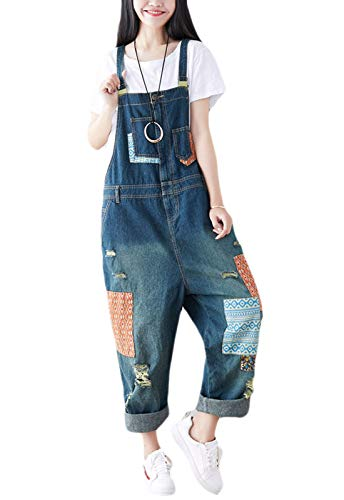 Flygo Womens Loose Baggy Overalls Jumpsuits Rompers Low Crotch Wide Leg 100% Cotton (One Size, Style 17 Blue)