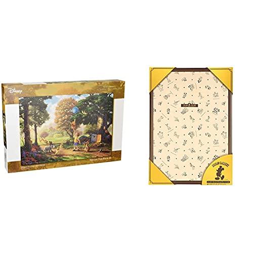 1000ピース ジグソーパズル くまのプーさん Winnie The Pooh II スペシャルアートコレクション (51x73.5cm) & 木製パズルフレーム ディズニー専用 1000ピース用 ブラウン (51x73.5cm)【セット買い】