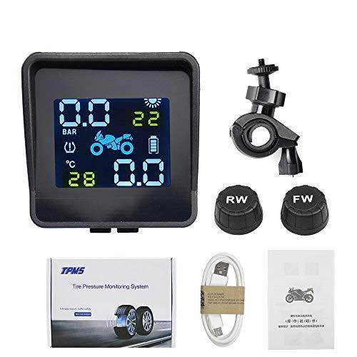 WHEEJE Sistema de Alarma de monitoreo de la presión de la energía Solar de la Motocicleta Sistema de Alarma USB Que Carga a Prueba de Agua inalámbrico con 2 sensores (Type : Motorcycle Solar)