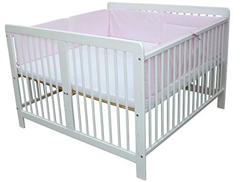 Zwillingsbett Zwillingskinderbett Kinderbett für Zwillinge massiv weiss mit 2 Matratzen 120x120cm + Nestchen rosa