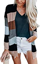 ECOWISH Womens Color Block Striped Draped Kimono Cardigan with Pockets Long Sleeve Open Front Casual Knit Sweaters Coat Black M