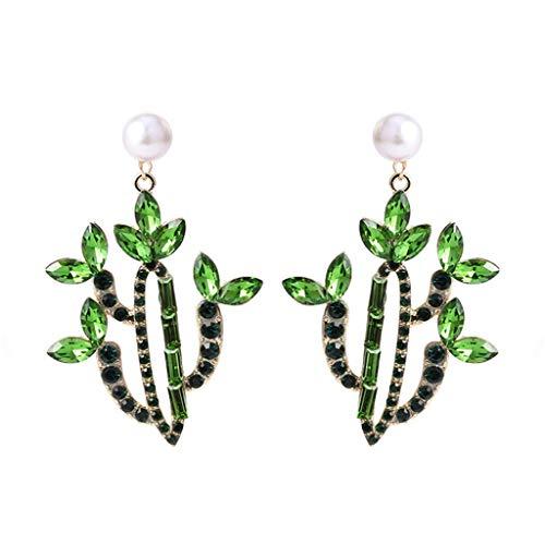 Pendientes de botón con forma de cactus de personalidad Pendientes colgantes de diamantes de imitación coloridos únicos para mujeres