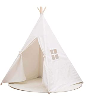 LELE Kids Foldable Teepee Tent With Padded Mat Playhouse Indian Style - 4 Wooden Poles Canvas With Bottom Mat, Indoor & Ou...
