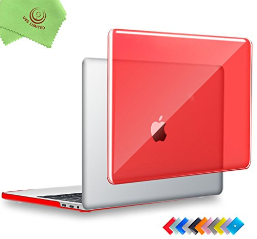 UESWILL MacBook Pro 15 inch Case 2019 2018 2017 2016, Crystal Clear Glossy Hard Case for MacBook Pro 15 inch with Touch Bar/USB-C (Model: A1990/A1707) + Microfibre Cleaning Cloth, Red