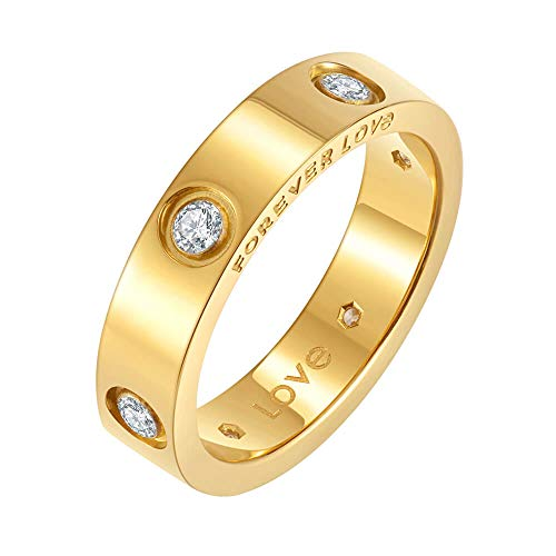 Nireus 18K Gold Plated Love Ring | Cubic Zirconia Promise Rings for Women | Yellow Gold Rings for Women, 5mm Size 9