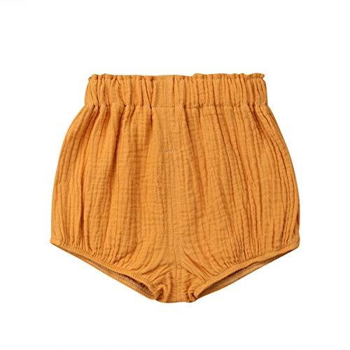 CHRONSTYLE Neugeborene Baby Mädchen Jungen Baumwolle Leinen Mischung Hosen Shorts Bottoms Bloomer Shorts (Gelb, 70)