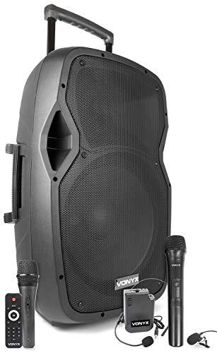 Vonyx AP1500PA 15 inch Mobiele Speaker op Accu met 3 Microfoons, Bluetooth en USB en SD aansluiting