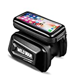 WILD MAN Hard Shell Touch Screen Bicycle Front Top Tube Bike Bag with Phone Holder for Cellphone Below 6.0 Inch