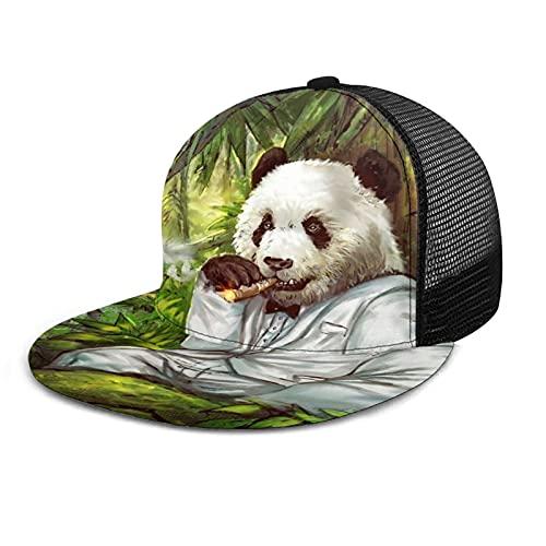 HARLEY BURTON Gorra de bisbol unisex con rejilla impresa plana facturada gorras de cigarro disfraz Panda verano ajustable empalme Hip Hop Cap sombrero de sol negro