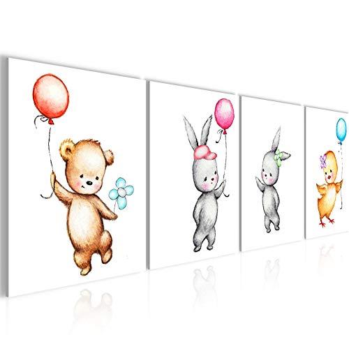Bilder Kinderzimmer Tiere Wandbild 160 x 50 cm Vlies - Leinwand Bild XXL Format Wandbilder Wohnzimmer Wohnung Deko Kunstdrucke Gelb 4 Teilig - MADE IN GERMANY - Fertig zum Aufhängen 017846a