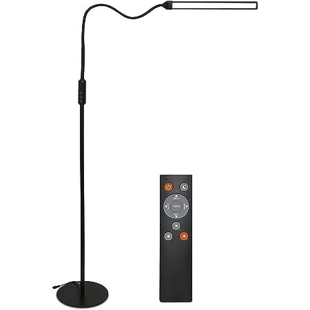 Clanmacy 12W LED Dimmable lampadaire sur Pied avec Cou Flexible et Télécommande, Moderne Longue durée Lampe sur Pied Liseuse avec Commande Tactile pour Salon Chambre Maison Bureau