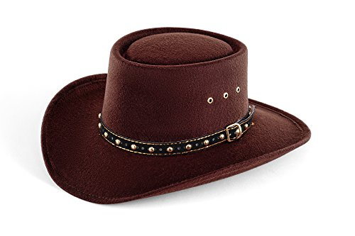 Western Faux Felt Gambler Cowboy Hat -Brown L/XL (Elastic Band)